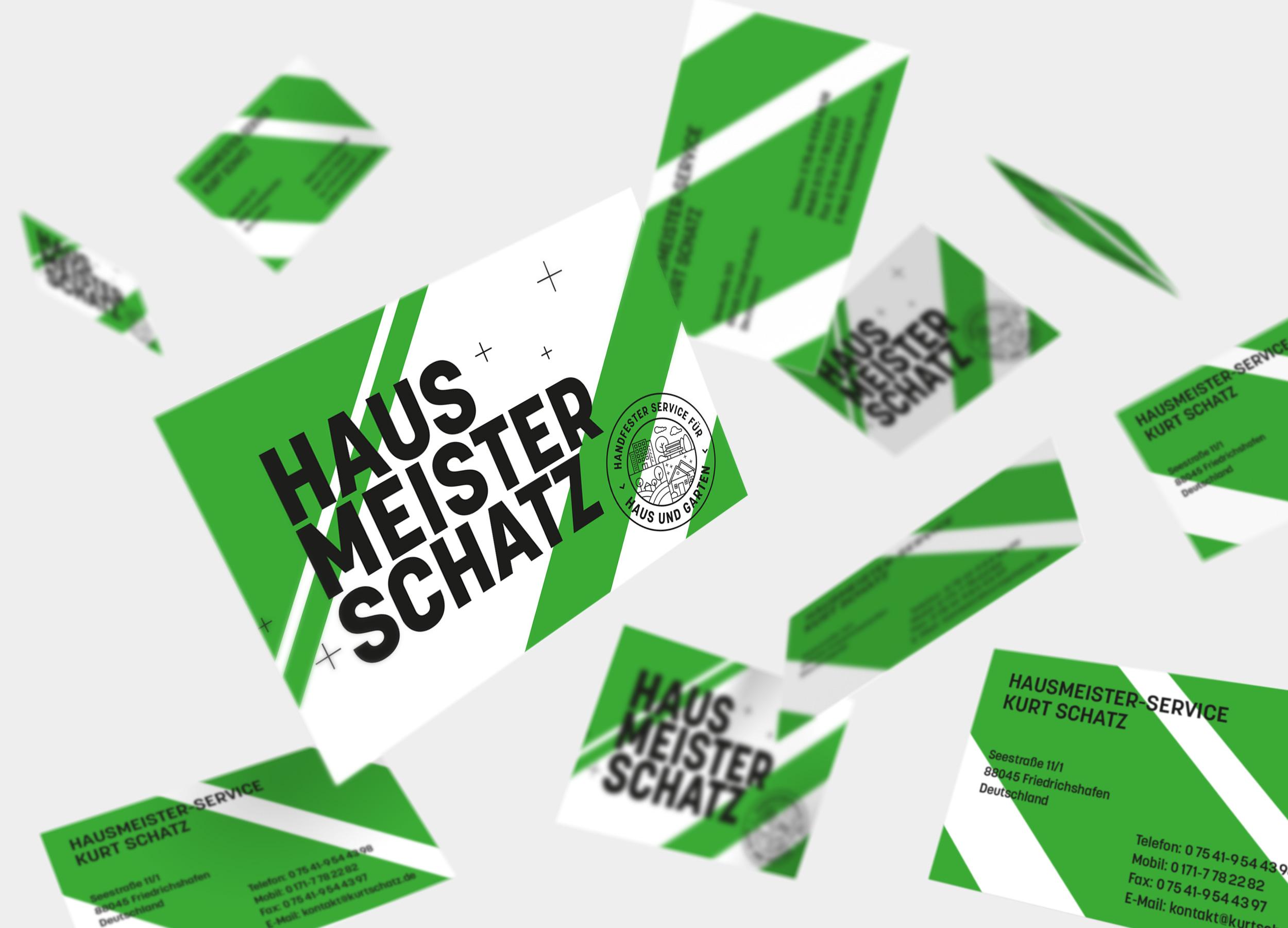 Hinterland corporate design hausmeister schatz business cards