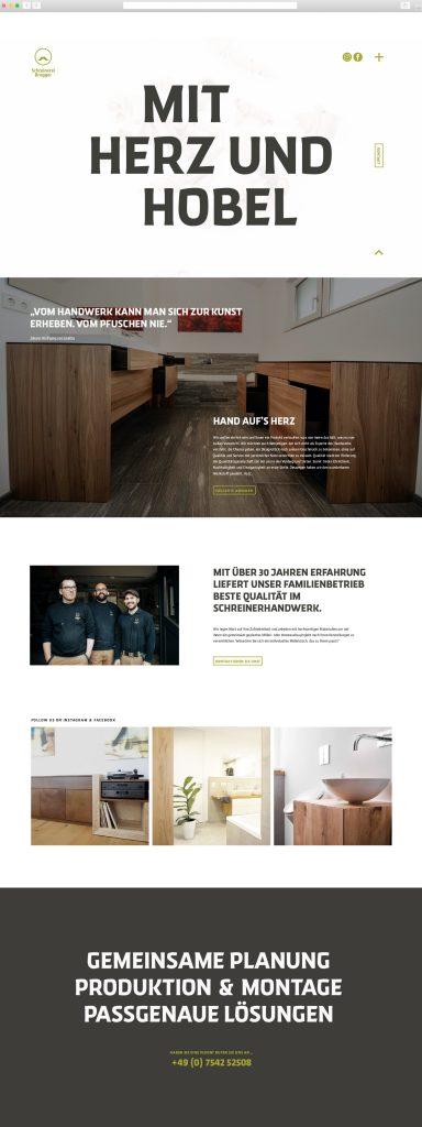 Webseite Schreinerei 1500x4000